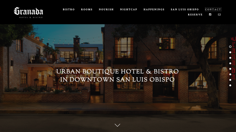 Grand Hotel Bistro One page scrolling hotel and restaurant website
