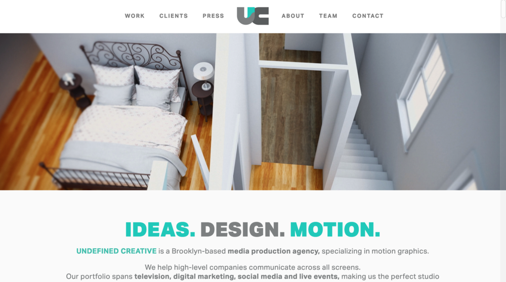 Undefined Creative one page scrolling website for media production agency
