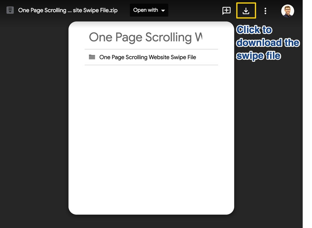 Screen shot displaying how to download the Swipe file from Google Drive