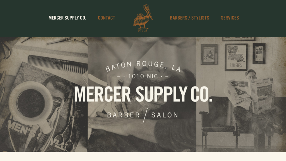 Mercer Supply Co one page website for barbershop and salon