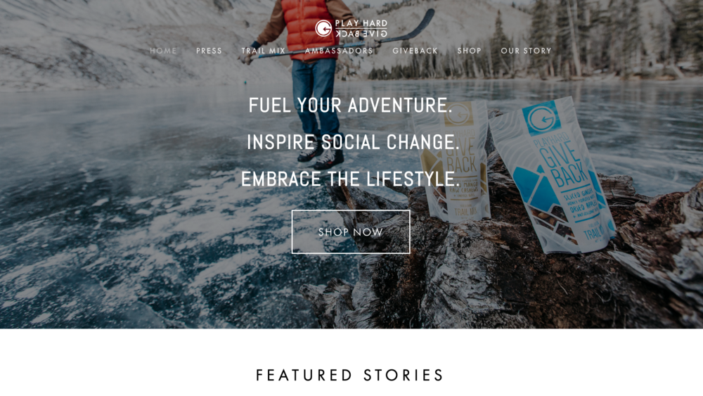 PlayHard GiveBack One Page website for trail mix product
