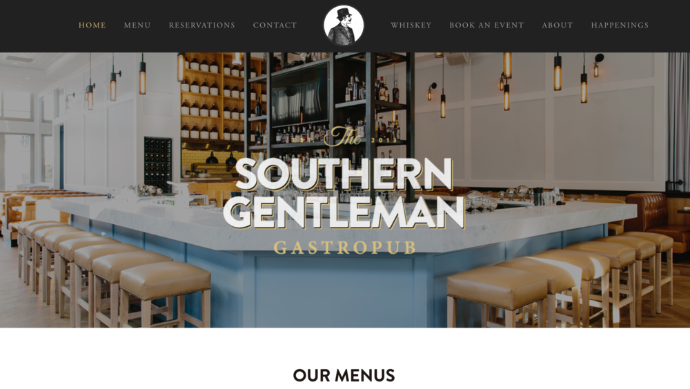The Southern Gentleman one page website for restaurant