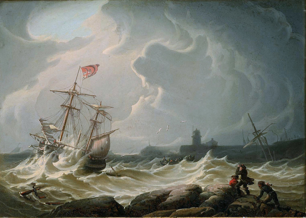 Ship in Storm by Robert Salmon, 1828.