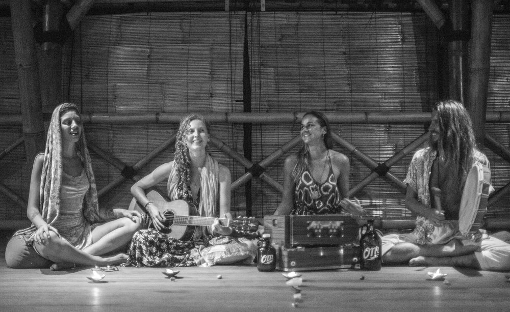 Cacao & Kirtan at Flowers & Fire Gili Air - November 2018. From left to right, Aleks Nikolic, Jenny Ruiseil, Aimee Glucina-Stevens & Nik Robson.