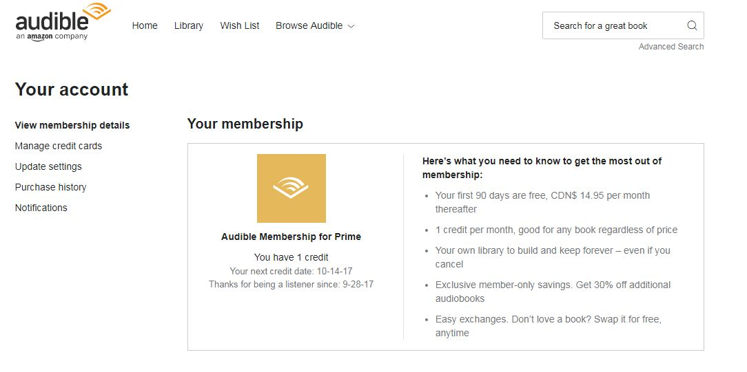 Audible Canada membership for Prime users