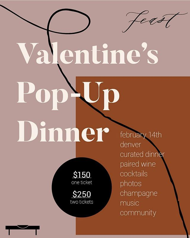 IT'S FINALLY HERE!  We are having our very first Feast Pop-Up dinner on Valentine's Day to create the perfect and dreamy date night. Trade in the crowded restaurants for an unforgettable experience. One long signature Feast table. 50 seats. Tickets mailed to you on handmade paper. Tag your lover for a subtle hint. 😉 GO CLICK THE LINK IN OUR BIO TO SIGN UP. Like right now. Xoxo. #feastpopup 💋🥂💓❤️💖❤️✨💋🥰