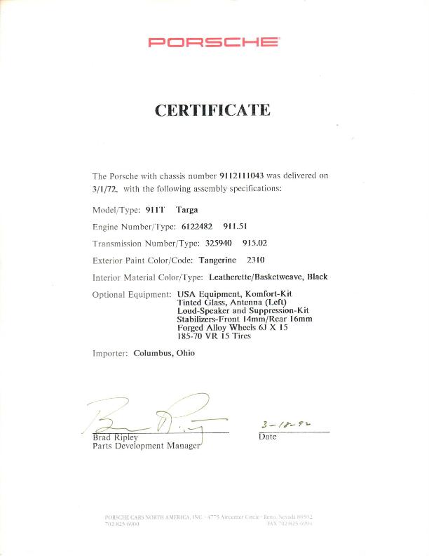 Porsche Certificate of Authenticity. 1972 911T Targa in Tangerine.