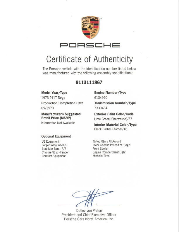Porsche Certificate of Authenticity. 1973 911T Targa in Chartreuse.