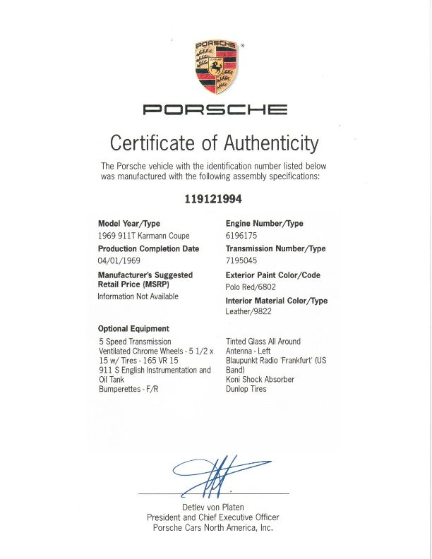 Porsche Certificate of Authenticity. 1969 911T Karmann Coupe in Red.