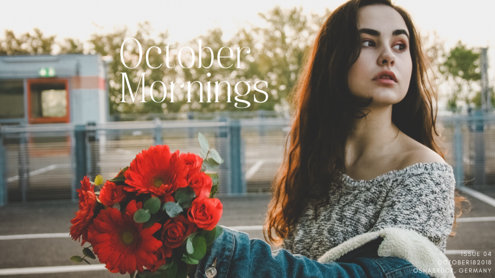 October Morning car parking lot photoshoot photographed by  www.herprettybravesoul.com  in Osnabrück, Germany. Tumblr aesthethics, Car Parking Lot Photoshoot with a girl dressed in a jeans jacket, oversized hoodie and orange flowers in her hand.