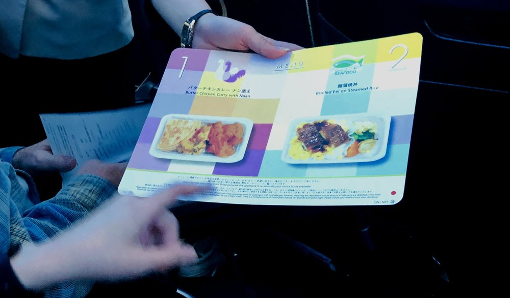 Meal options on our JAL flight