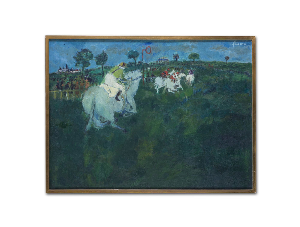 Jean Fusaro      Chevaux en course, (Horse racing)     Oil on canvas    23.3/4 x 32 in. (60.4 x 81.2 cm.)     £5,100