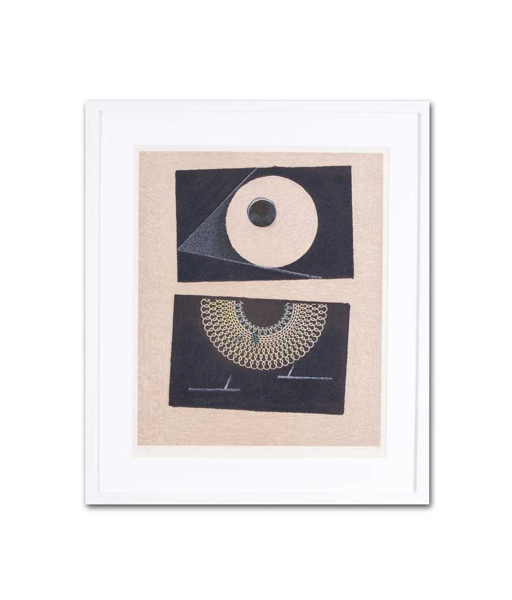 Max Ernst      Veilleuse au Seuil de Nos Terrassements Dent Prompte VI     Colour lithograph    Signed and numbered in pencil '15/70 Max Ernst' (lower edge)    25.3/4 x 22 in. (65.3 x 56 cm.) (including frame)     £2,100