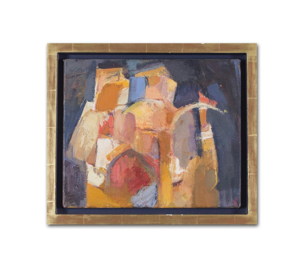Juliet Schubart      Old City     Oil on canvas    12 x 14 in. (30.5 x 35.5 cm.)     Price: £900
