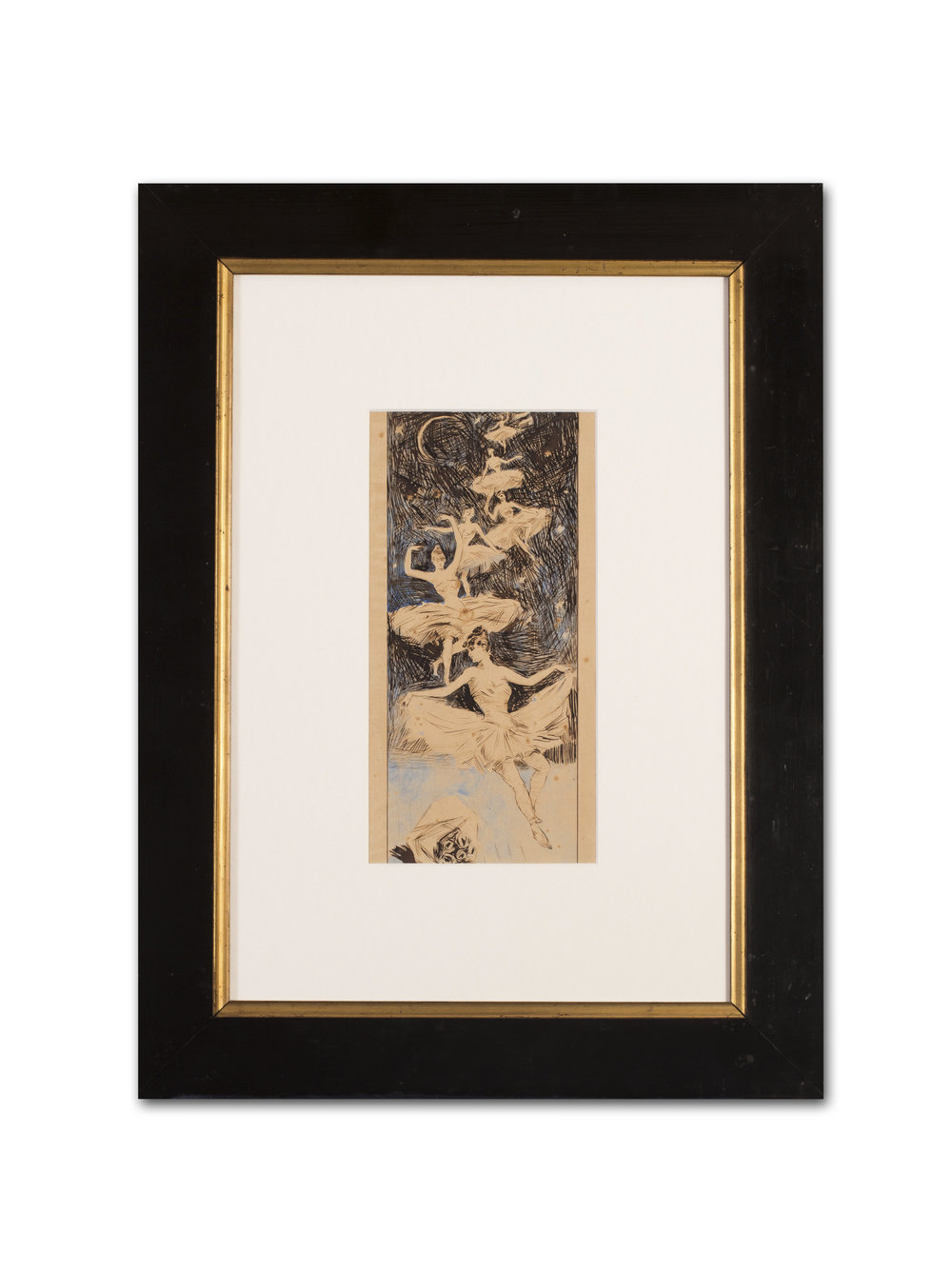 Attributed to Jules Cheret    A Ballerina dream sequence, Circa 1900s   Pen, ink and watercolour on paper  10 x 5.3/8in. (25.4 x 13.6cm)   Price: £450