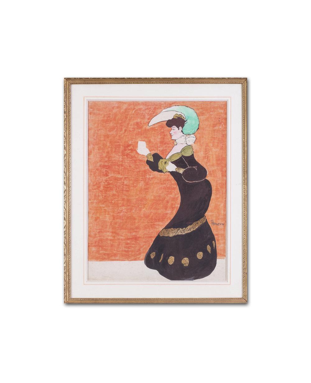A Brun      Raising a glass     Pencil, watercolour and gouache on canvas    20.1/2 x 15.3/4in. (52 x 40 cm.)     Price: £1,050
