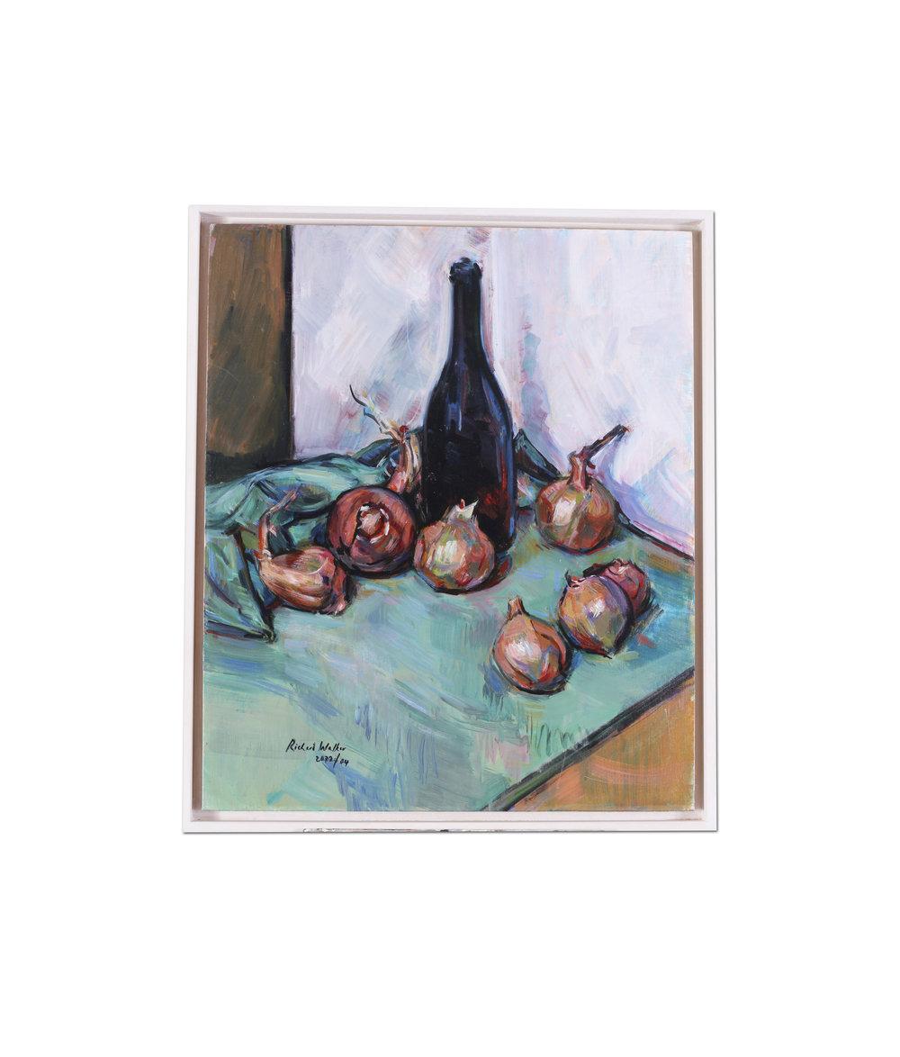Richard Walker      Onions     Oil on canvasboard    24 x 20 in. (61 x 50.8 cm.)     Price: £820