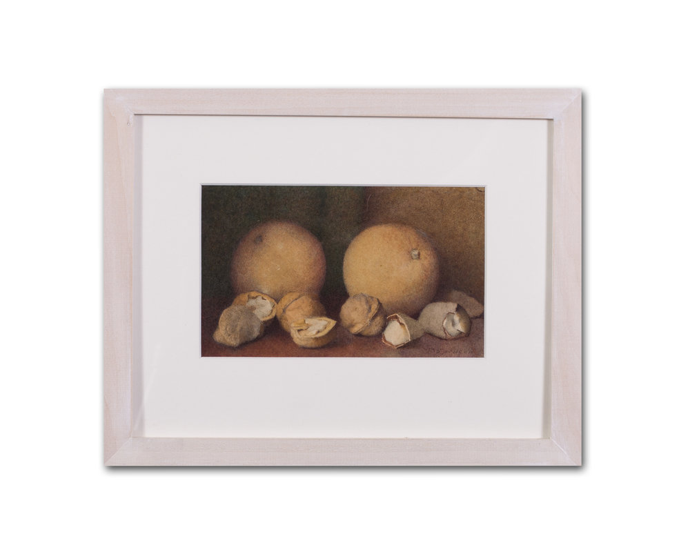 Fred Spencer      Oranges, walnuts and brazil nuts     Watercolour on paper    4.1/2 x 7.1/2 in. (11.5 x 19cm.)     Price: £800