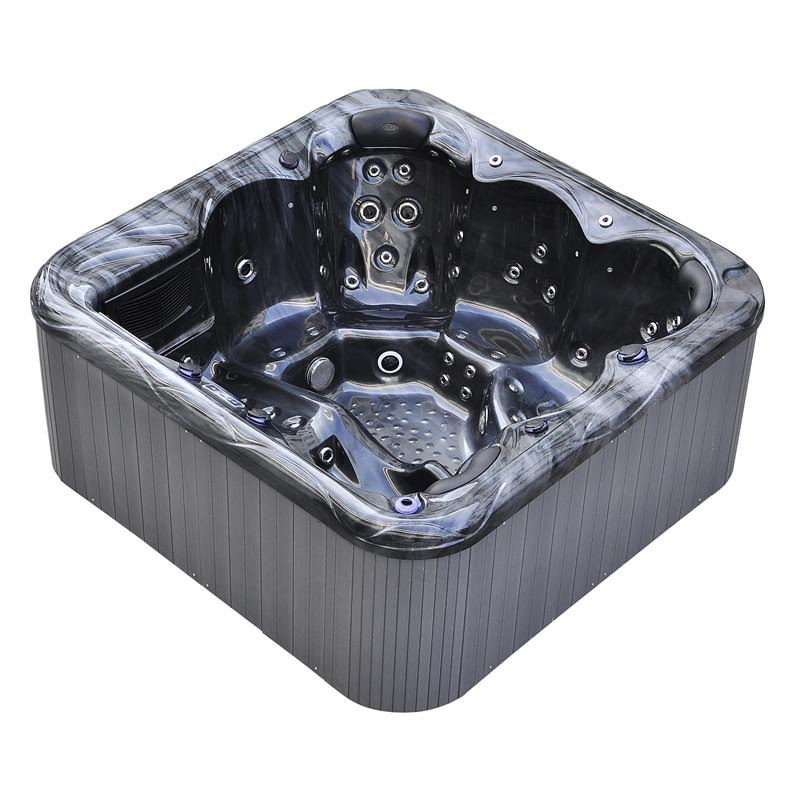 Budor familiespa - Denne modellen måler 200 x 200 x 91cm, har fem sitteplasser og ett liggesete, og er meget godt isolert. Den rommer 980 liter vann, veier 250kg, og har isolert lokk og 1 5
