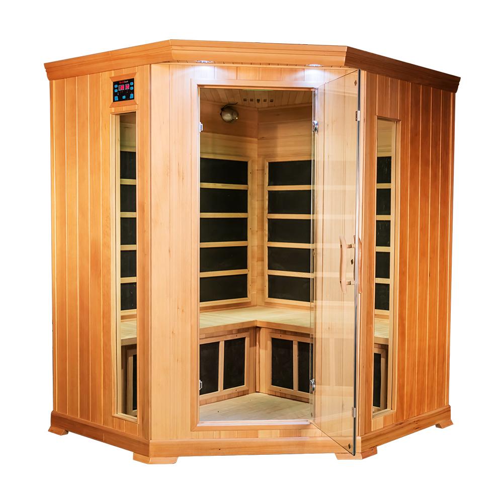 hjørnebadstue - Trevirke: HemlockEffekt: 2700 WMål: 150 x 150 x 190 cmVekt: 180 kgLuftrenser, lysspotter, tonet glass, gulvvarme, fotmassasje, fargeterapi, termometer, radio med mange tilkoblingsmuligheter og karbon varmeelementer