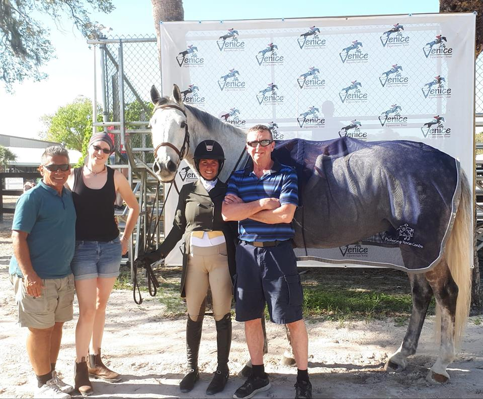 Our Farriers Scott Salverson & Shawna Derrington with Gary, Emily and El Rapido at Foxlea Farms in Venice Beach, FL.