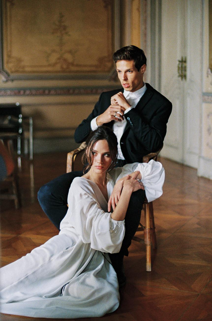 bride and groom editorial fashion shoot green orchard wedding
