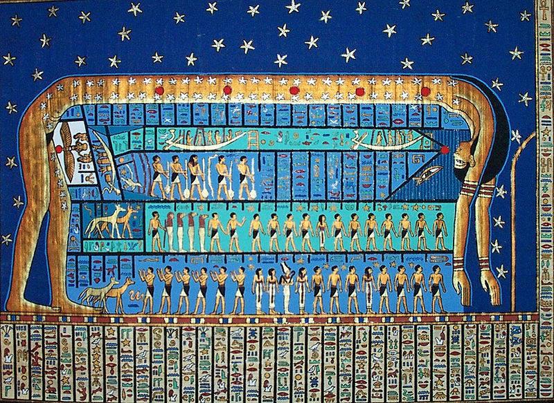 Représentation de Nout, la déesse du ciel, sous forme de voûte