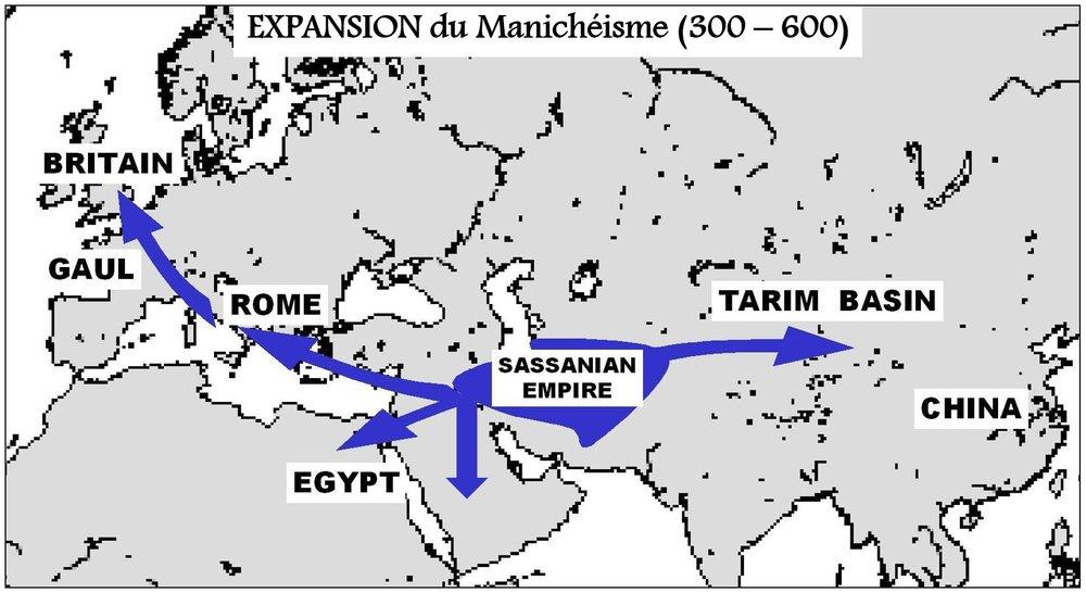 Expansion de la religion manichéenne entre 300 et 600 av J. -C.