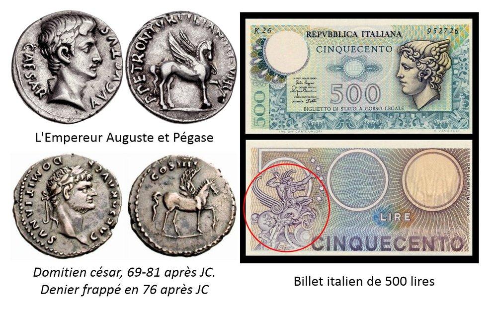 Pégase sur des pièces de monnaie antiques et sur les lires italiennes du 20e siècle