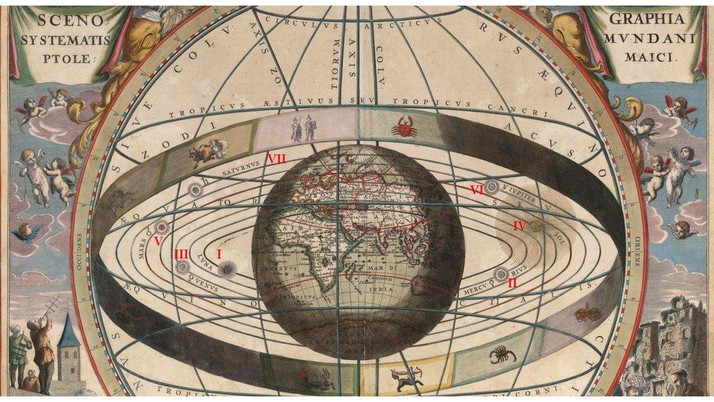Système géocentrique de l'astronome grec Ptolémée, mort en 168 ap. J. -C.