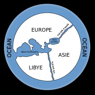 Reconstitution de la carte du monde d'Anaximandre