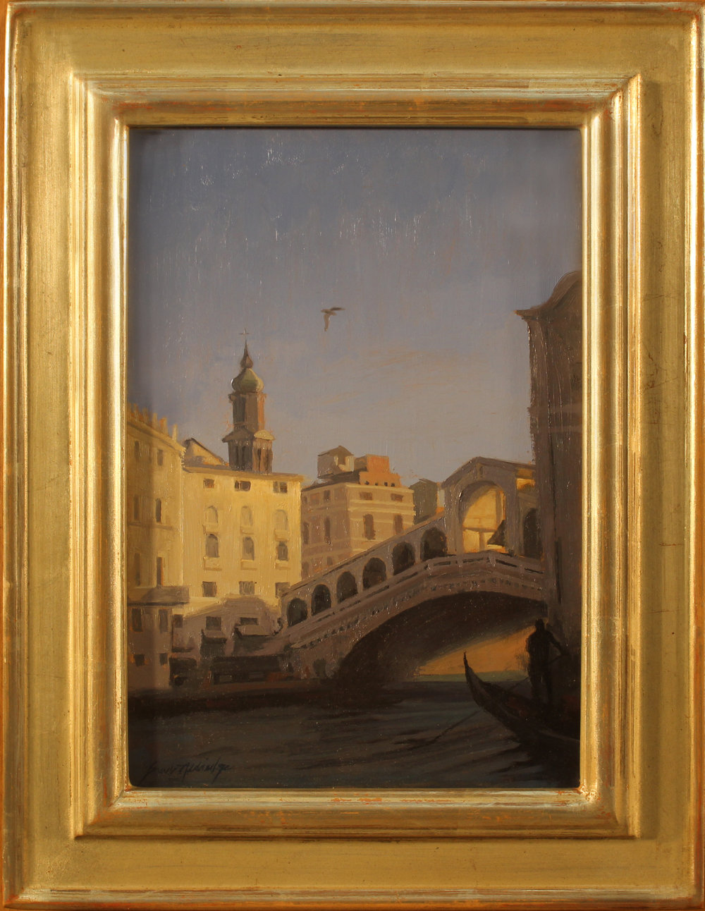 Dusk, Ponte di Rialto, Venice,#1167, 11 x 7.5 panel, 15 x 11.5 frame, $1,800.jpg
