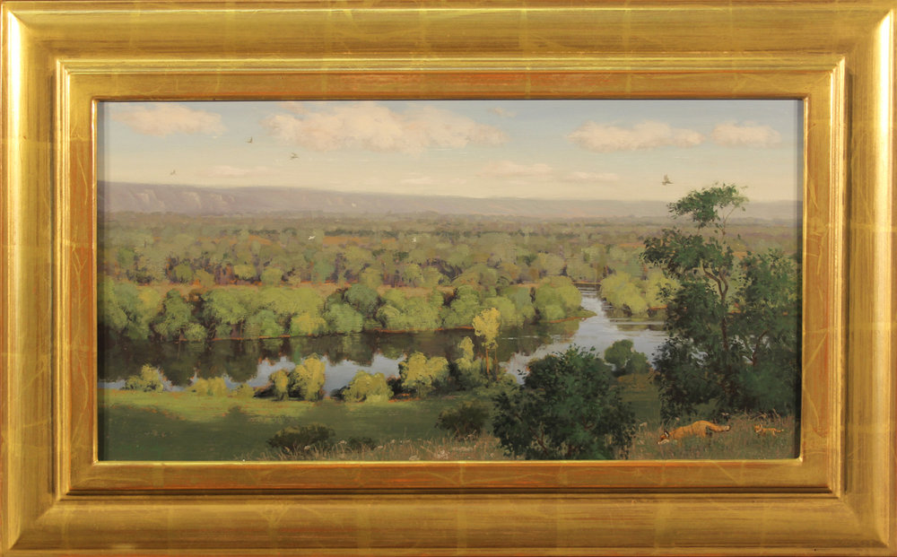 email Overlooking the River Seine, (France),11.5 x 22 oil on canvas, 17 x 27.75 frame, 2015, #1085.jpg