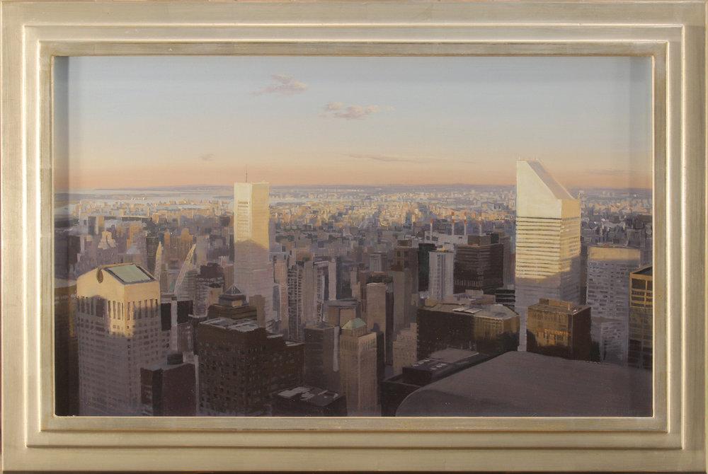 Brad Aldridge, Midtown at Dusk, 17 x 28 oil on panel, 22.25 x 33.5 frame, 2018, $5,000 (1).jpg
