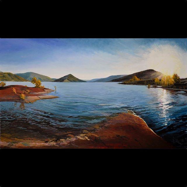 Here's the full evening painting: 150 x 90 cm Sunset, Lac Salagou, South of France Sublime. I'm thinking #jmwturner  #landscapelovers #lacsalagou #lodeve #clermontlherault #sunset #painting #artwork #artlovers  #oilpainting #impressionism  #impressionisme #oiloncanvas  #huilesurtoile  #artist #pleinair  #pleinairpainting #britishart  #artoftheday  #mediterranean  #herault #southoffrance  #france  #landscapepainting #arthistory  #artappreciation #drawinganatomyandart  #monet