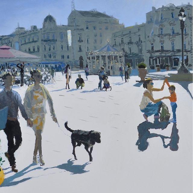 Place de la Comedie, Montpellier (detail). Not really like Matisse or Dufy, but inspired by their joyful touch... #painting  #artcollector #artwork #peoplelookingatart #artwatchers #artlovers #oilpainting #contemporaryrealism #impressionism #oiloncanvas  #artist  #pleinair #pleinairpainting #britishart #artoftheday #londonartscene  #mediterranean #montpellier #visitmontpellier #southoffrance #france #landscapepainting #arthistory #artappreciation #drawinganatomyandart @panterandhall #placedelacomedie #henrimatisse #dufy