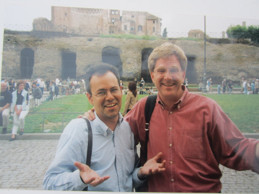 Tom Rankin helping Rick Steves on his early Europe Through the Back Door episodes