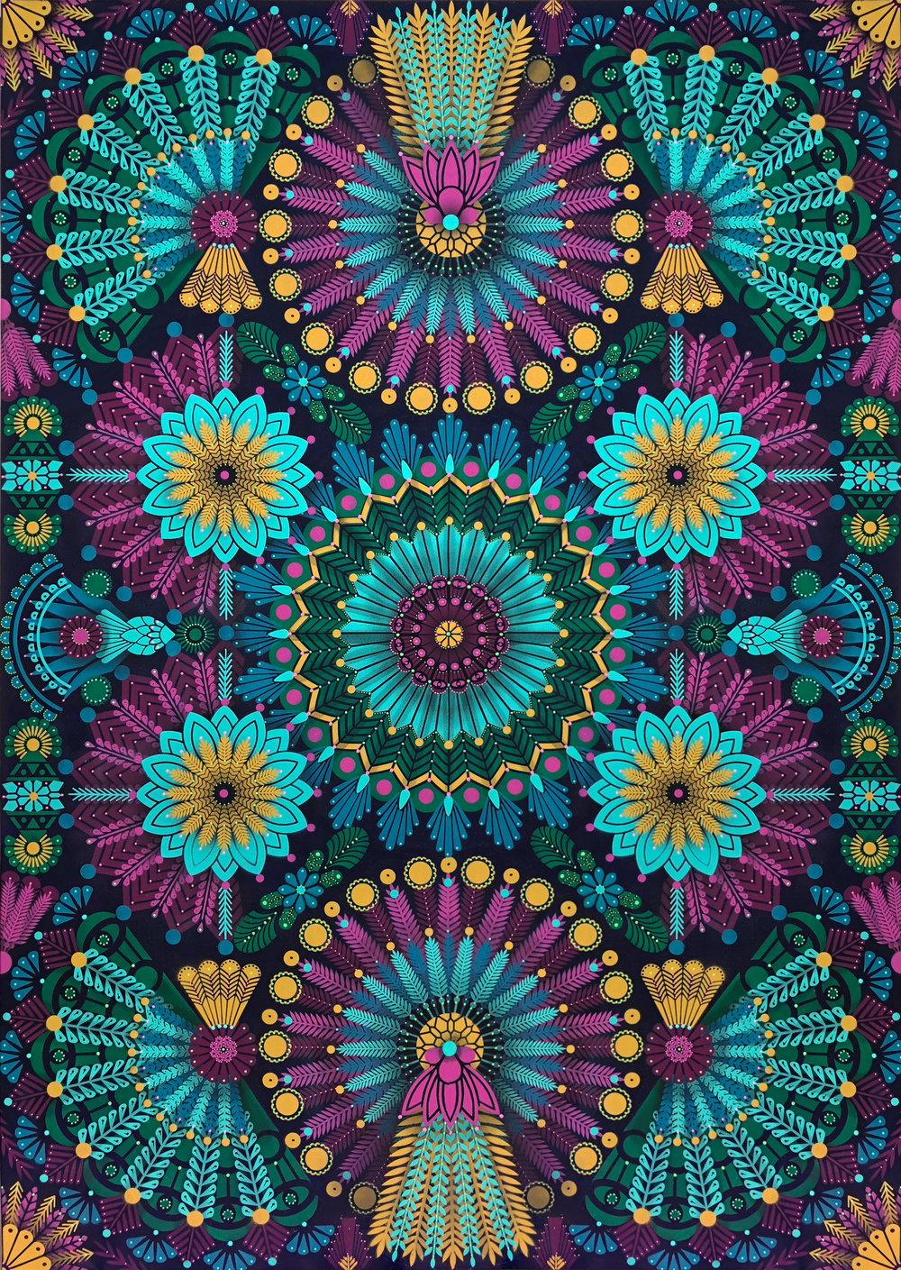 Kaleidoscopic Nature #2  - Acrylic on canvas, 162 x 114 cm   2018