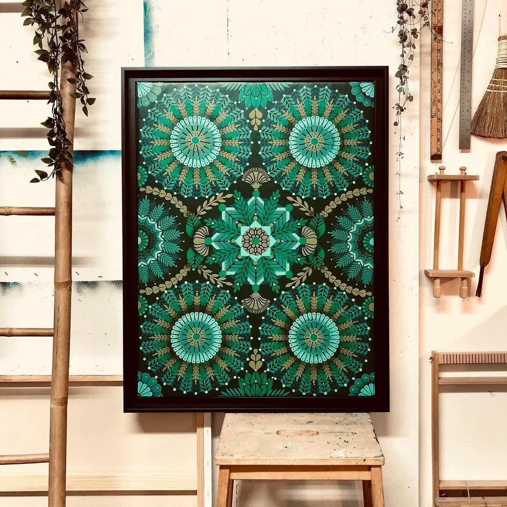 Kaleidoscopic Nature Jade  - Acrylic on canvas, 60 x 80 cm   2018