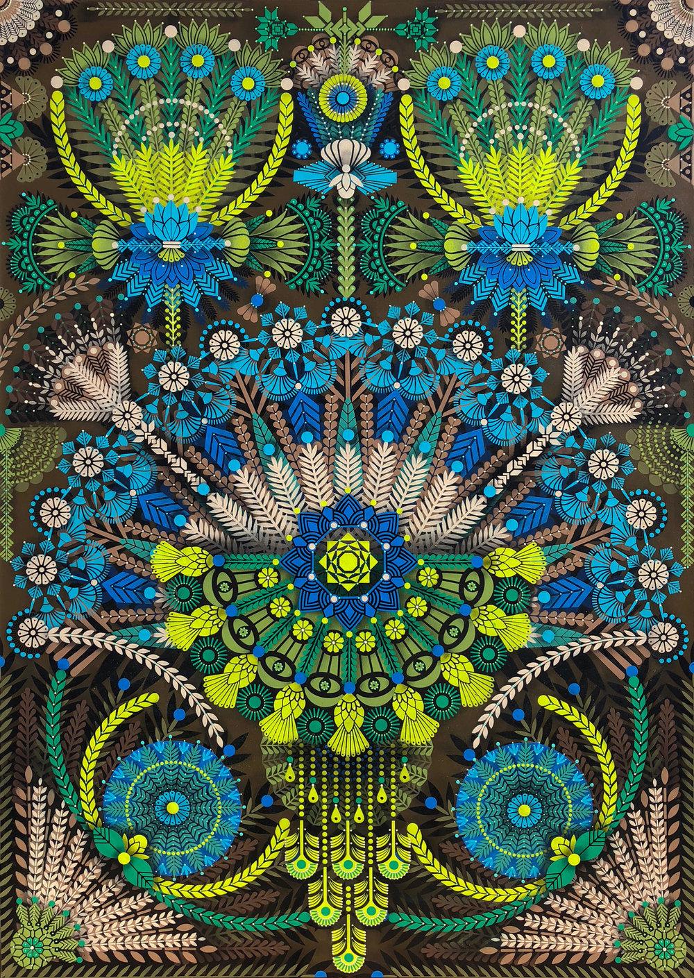 Kaleidoscopic Nature #3  - Acrylic on canvas, 162 x 114 cm   2018