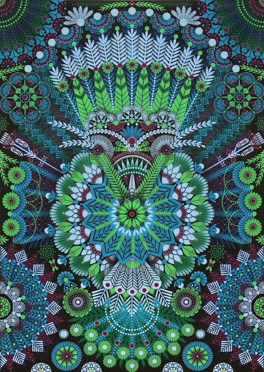 Kaleidoscopic Nature #4  - Acrylic on canvas, 162 x 114 cm   2018