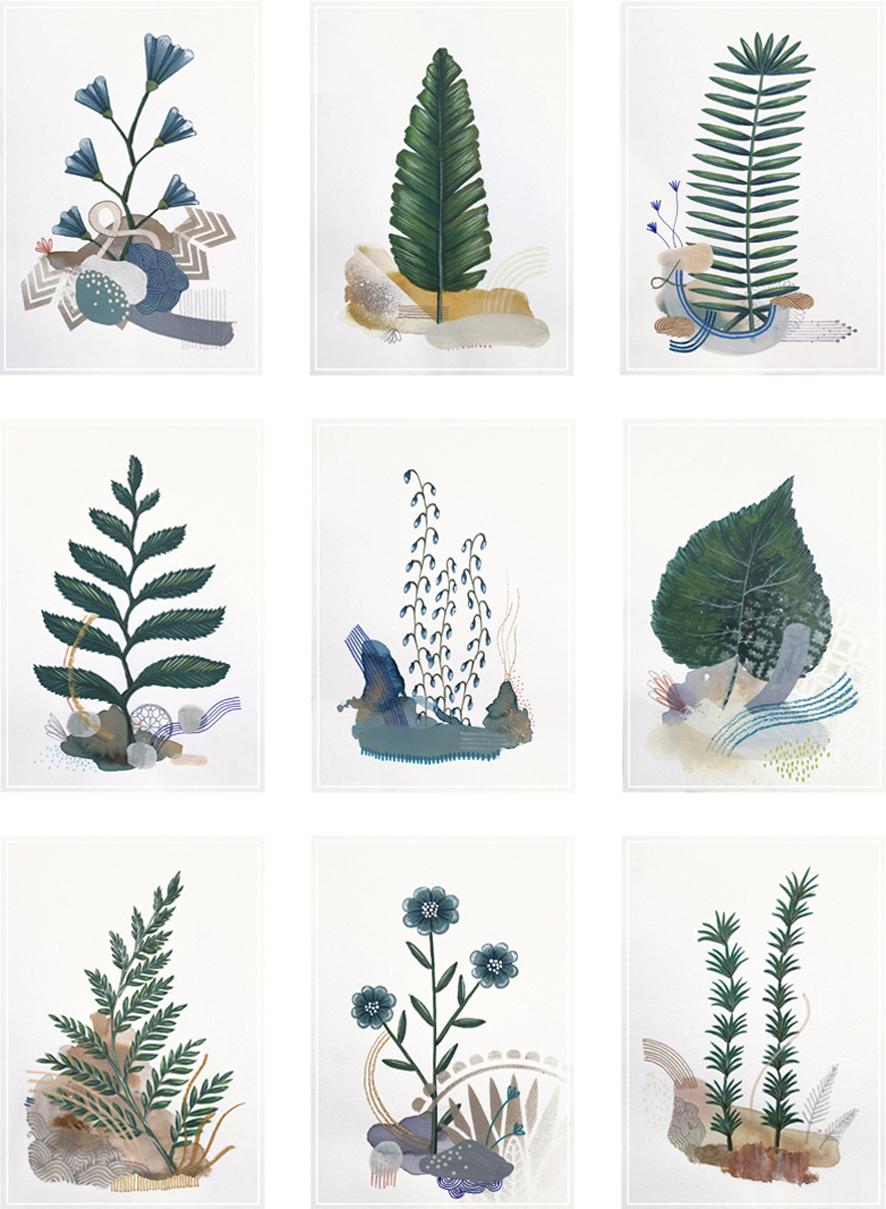 Botanic Garden  Imaginary Herbarium, serie of 66 dessins A5 - Mix medi   2018