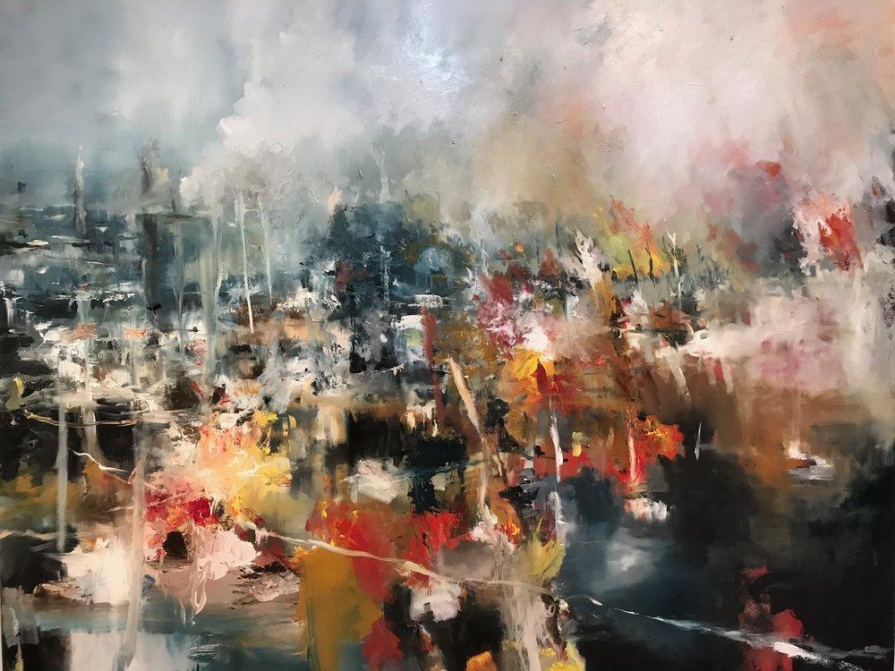 """""""pondlife"""" 2017 . Oil on canvas 72"""" x 60 """""""
