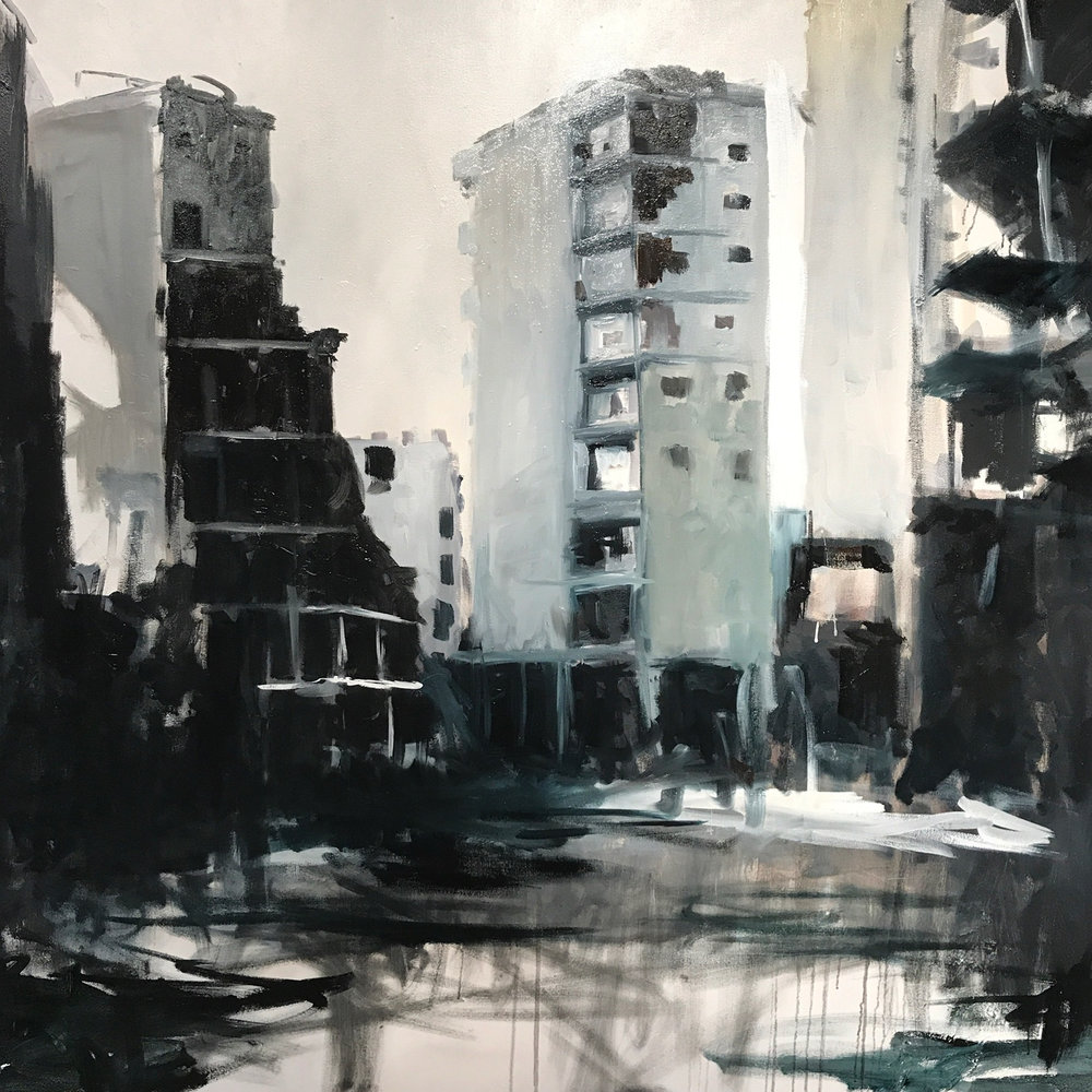 "Allepo 2017-18. Oil on canvas 48""x 48"""