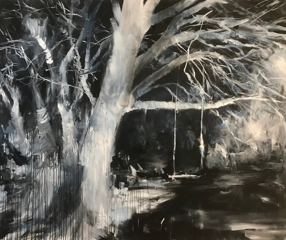 """Nightree"" 2018 . acrylic and ink on canvas 72"" x 60 """