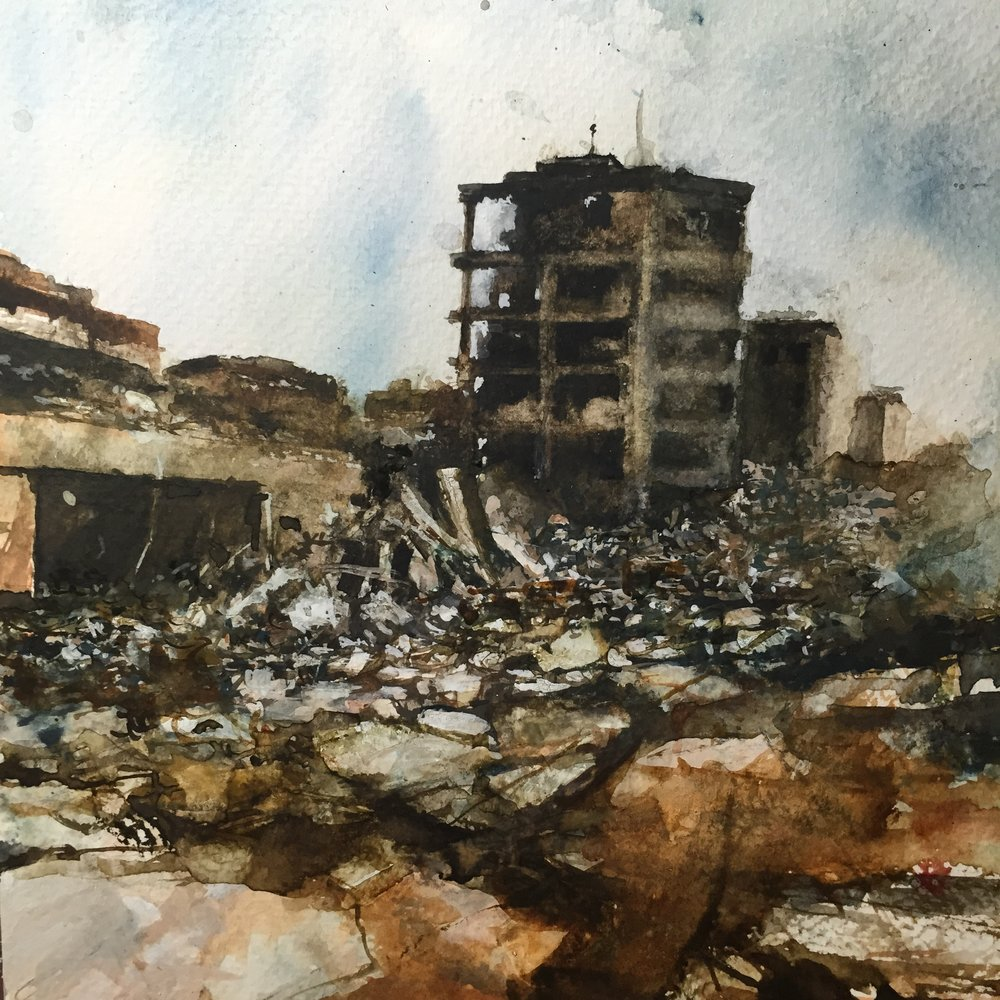 "Homs 2017. watercolour and ink on paper 9""x 9"""