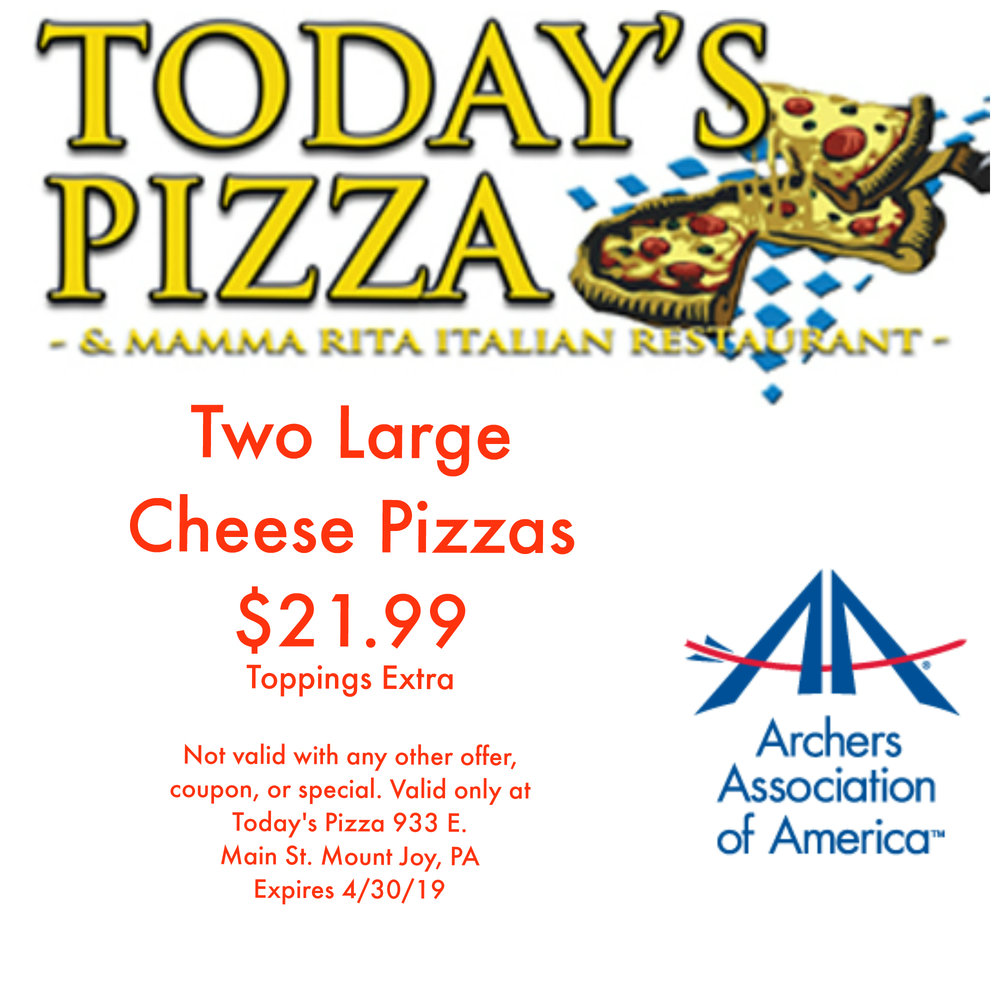 Today's Pizza & Mamma Rita Italian Restaurant - Two Large Cheese Pizzas $21.99Show this coupon