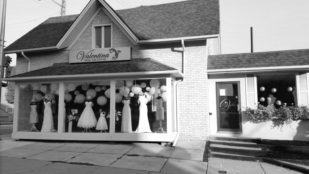 we're an intimate, cozy, chic, boutique. - Valentina Bridal and Couture, situated in the heart of Uptown Waterloo, An intimate and cozy, chic boutiqueWe are committed to providing you with the most personalized service. As we understand the personal effort required to plan your wedding has increased, your time has not, which is why we put so much emphasis on meeting your needs at our store.As a full service bridal salon we cater to the whole bridal party adorning the bride, bridesmaids, flower girls, and mothers. We have not forgotten about the client whom is looking to dress for a special occasion. We have fabulous apparel straight from the New York fashion district.Valentina Bridal and Couture is for that someone looking for unique and interesting, and wishes the dress to be a reflection of her fun and loving personality!