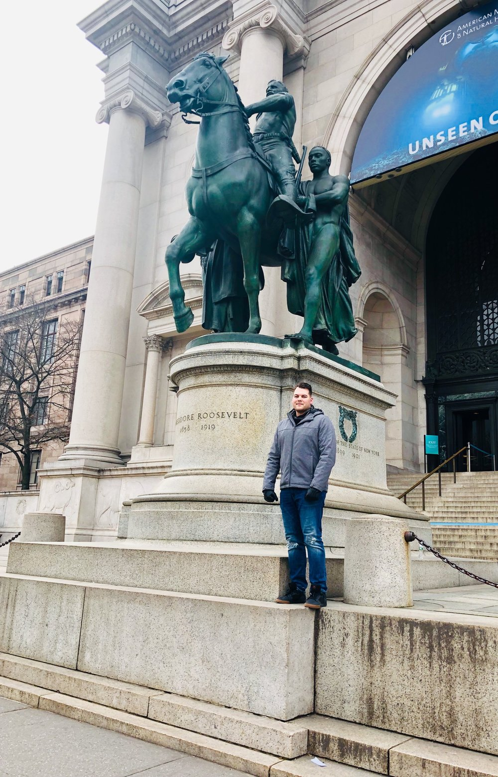 Theodore Roosevelt monument outside American Museum of Natural History. Did you know that it was because of him that we have national parks and game reserves?