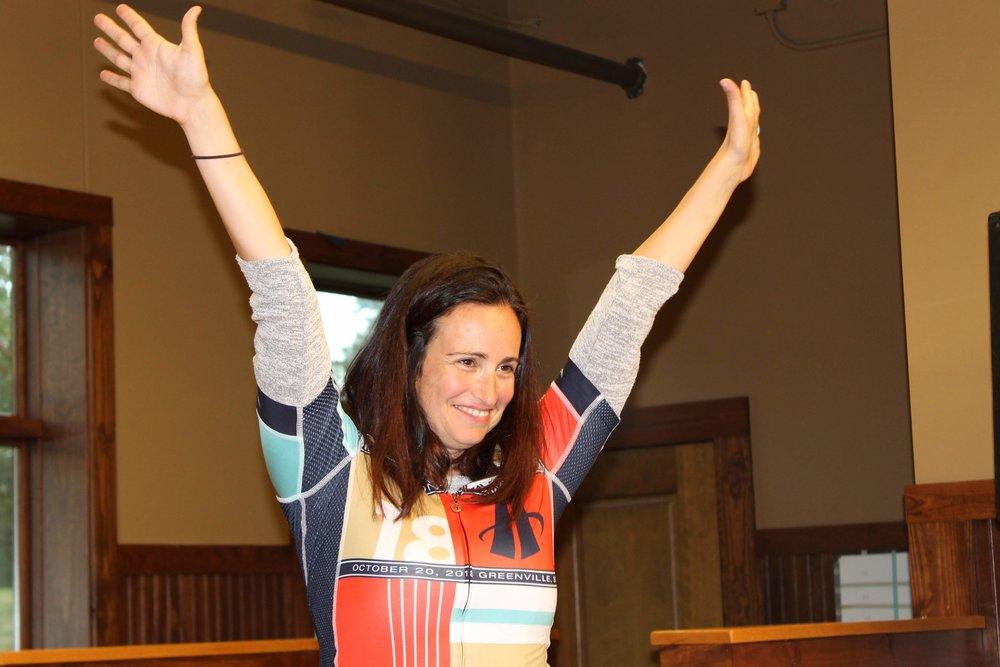 Jessica Stoner after her fantastic ride